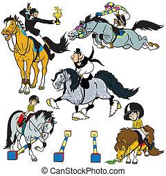 Con jinetes de caballos de dibujos animados
