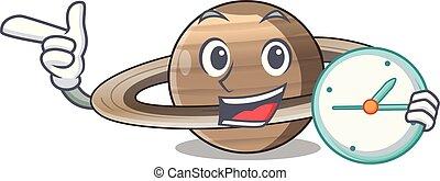 Con la imagen del reloj del planeta Saturno en el carácter