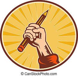 Con la mano sujetando un lápiz con un soleado dentro de un oval
