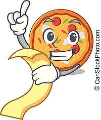 Con menú de mascota de la pizza estilo dibujos animados