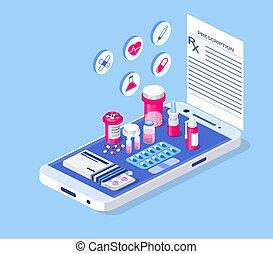 concept., atención sanitaria, farmacia, médico