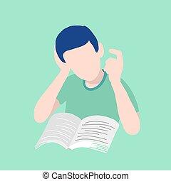 concept., boy., book., lectura, abierto, escuela, hombre, se contener, niño