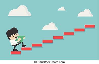 Concept Business Person subir una escalera
