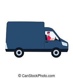 concept., coche., hombre, covid-19., coronavirus, estancia, seguro, durante, cuarentena, entrega, hogar