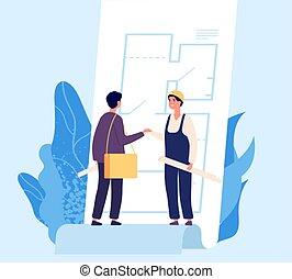 concept., construcción, sacudida, arquitecto, contrato, acuerdo, constructor, vector, hands., ilustración, diseño