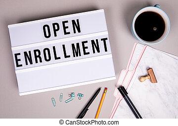 concept., lightbox, abierto, blanco, enrollment, escritorio, gris