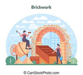 concept., profesional, ladrillo, albañil, construir, pared, constructor