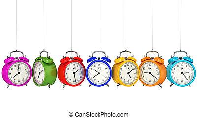 concept., reloj, 3d., alarma, tiempo