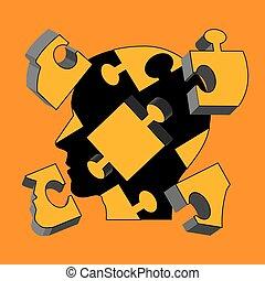 concept., salud, hombre, rompecabezas, mental, cabeza