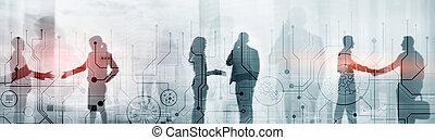 concept., tecnología negocio, fondo., electrónico, ingeniería, comunicación, circuito