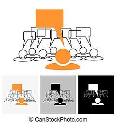 Concept vector gráfico - líder del equipo hablando (burbujas de habla)