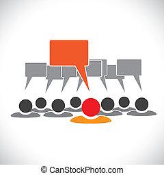 Concept vector gráfico- líder  ⁇  empleados hablando