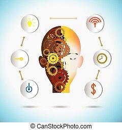 concept., vector, innovación, engranaje, icono, robot, ilustración