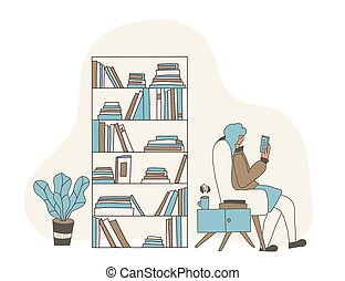 concept., vector, libro, color, lectura, design.