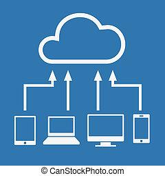 concept., vector, pc, conectado, como, informática, dispositivos, nube, computadora, computador portatil, cloud., vario, tableta, smartphone