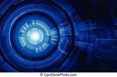concept., vector, tecnología, plano de fondo, futuro, cyber, ilustración, ojo, seguridad