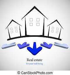 Concepte bienes raíces para su negocio. Ilustración del vector. La mejor opción