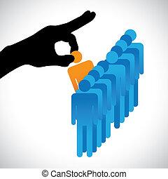 Concepte ilustración de elegir al mejor empleado. El gráfico muestra a la compañía HR representada a mano silueta haciendo una elección de una persona con habilidades adecuadas para el trabajo entre muchos otros candidatos