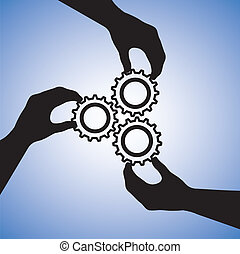 Concepte ilustración de trabajo en equipo y gente cooperando para el éxito en equipo. El gráfico incluye siluetas de mano sujetando las ruedas juntas indicando colaboración y uniendo las manos para el éxito