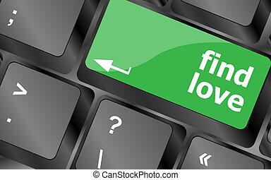 concepto, amor, botón, social, -, teclado, hallazgo