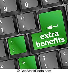 concepto, beneficios, empresa / negocio, extra, botón, -, teclado