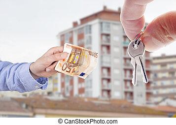 concepto, billete de banco, teclas de casa, mano, compra, euro