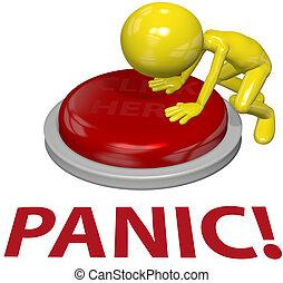 concepto, botón, persona, empujón, problema, pánico