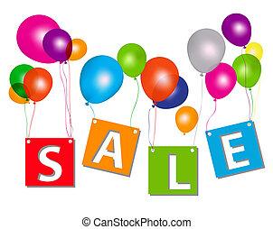 concepto, cartas, illustration., discount., venta, vector, globos
