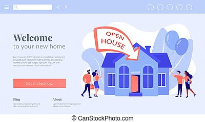 concepto, casa, abierto, aterrizaje, page.