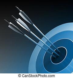 concepto, centro, éxito, -, flechas, golpear, empresa / negocio, blanco