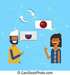 concepto, chino, charla, en línea, ruso, traducción