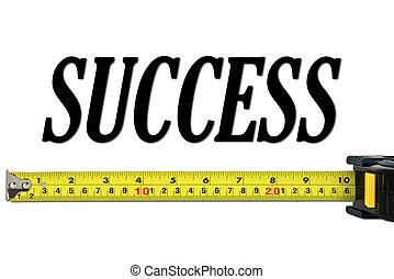concepto, cinta, éxito, medida
