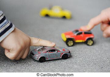 concepto, coche, -, niñez, juguete, inocencia, juego