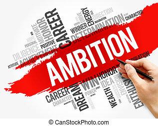 concepto, collage, ambición, palabra, nube, empresa / negocio