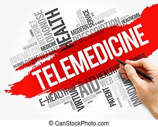 concepto, collage, palabra, nube, telemedicine, salud