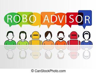 concepto, colorido, iconos, robotes, ilustración, personas, vector, robo-advisor