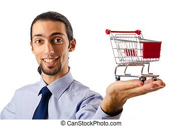 concepto, compras, empresa / negocio, -, carrito, manos de valor en cartera
