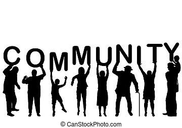 Concepto comunitario con las siluetas de la gente