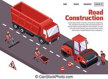 concepto, construcción, camino, isométrico