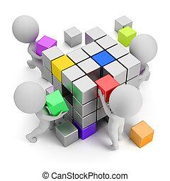 concepto, crear, gente, -, pequeño, 3d