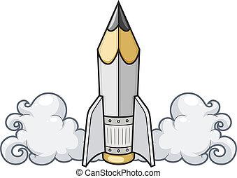 Concepto creativo lápiz como cohete