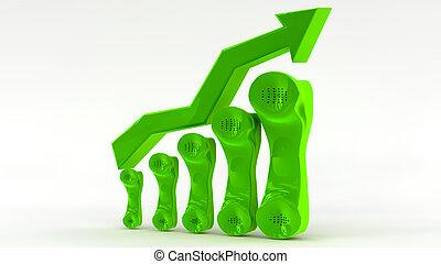 concepto, crecimiento, telecomunicación, empresa / negocio