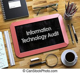 Concepto de auditoría de información en una pequeña pizarra.3D.