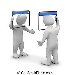 Concepto de chat en Internet. 3d ilustrado.