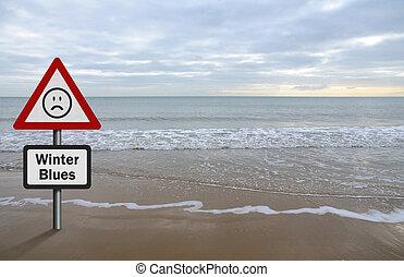 Concepto de desorden afectivo estacional, con fondo de playa y mar