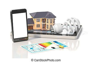 Concepto de diseño. La casa residencial tiene vistas donde pueden ver habitaciones amuebladas con herramientas en planos de arquitectos. Proyecto de vivienda. Ilustración 3D