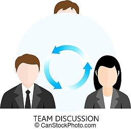Concepto de diseño plano del equipo de discusión