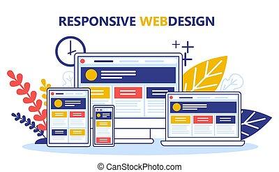 Concepto de diseño web de respuesta. Desarrollo web, programación