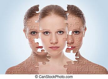 Concepto de efectos cosméticos, tratamiento y cuidado de piel. Cara de joven antes y después del procedimiento