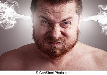 Concepto de estrés, hombre enojado con una cabeza explosiva
